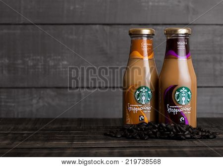 London, Uk -december 15, 2017: Glass Bottles Of Starbucks Frappuccino Coffee Drink With Caramel On W