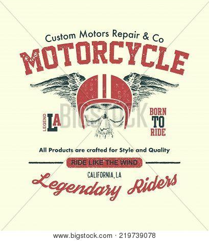Vintage design biker Hand drawn. Vector illustration.