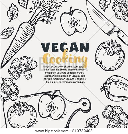 Vegetarian healthy recipes banner with vegetables o vegan food recipes banner with illustration of and chopped vegetables, Fresh brocolli, tomato, paprika, apple, brocolli, basil, carrot, knife, cutting board in blach and white color outline style