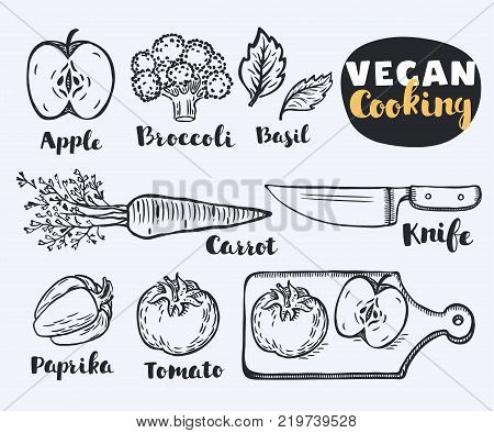 Vector illustration of vegetables and herbs paprika, pepper, apple, basil, carrot, brocolli, carrot, basil, knife, cutting, cutting Board