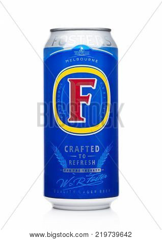 London, Uk - December 15, 2017:  Aluminium Can  Of Foster's Lager Beer On Black Background