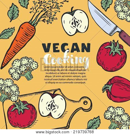 Vector y foto vector vegetarian vegan food bigstock vector vegetarian and vegan food recipes banner with illustration of and chopped vegetables copyspace at forumfinder Images