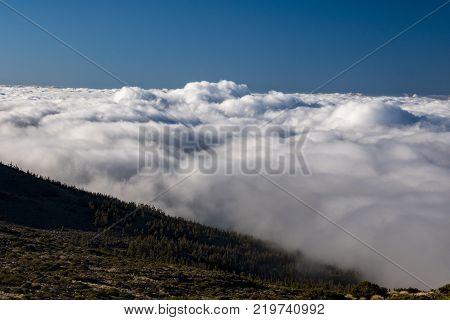 teide tenerife canary islands clouds in the teide