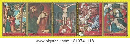 Ajman - circa 1972: Coupling Stamps printed by Ajman Color edition on topic of Art Shows Religious paintings circa 1972