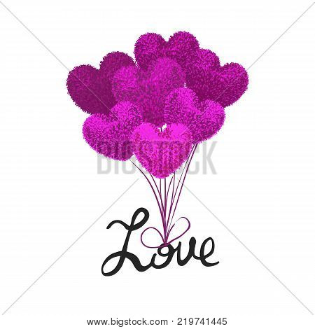 Vector colorful illustration fluffy balloons shape of heart attached to word love and lift it into air. Valentines Day cartoon style illustration. Used as posrcard poster flyer brochure banner