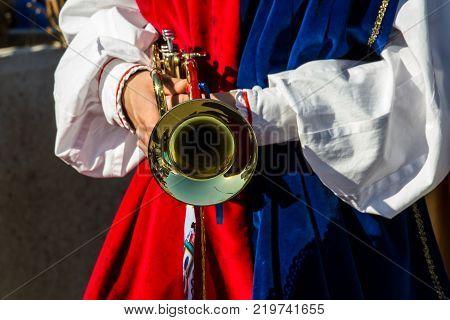 CAGLIARI, ITALY - OCTOBER 28, 2017: Invitas Sardinia of traditions performances and food at the Molo Sanità. (Soc. Medieval Districts Villa Ecclesiae of Iglesias)