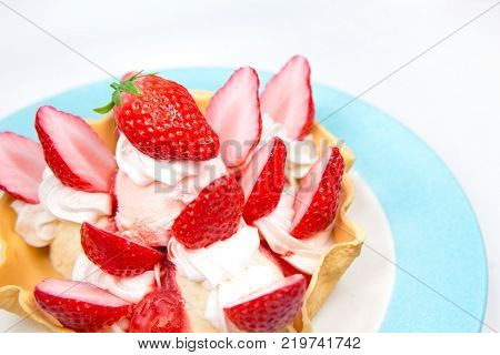 strawberry ice cream tasty sweet dessert fake plastic