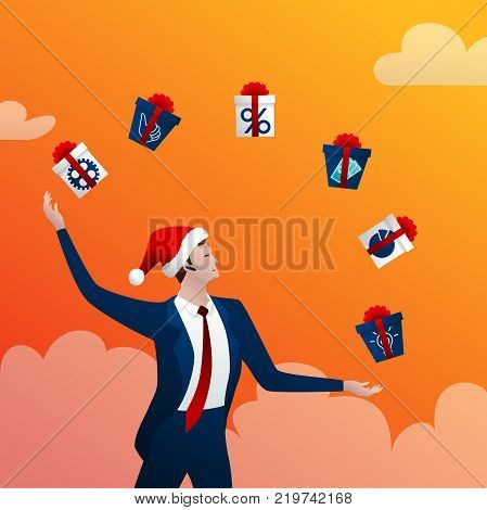 The businessman in a New Year cap with a happy smile juggles gift with boxes and gifts on a orange background. Concept idea. Vector illustration.