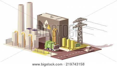 Vector low poly waste-to-energy plant icon with power line and garbage truck