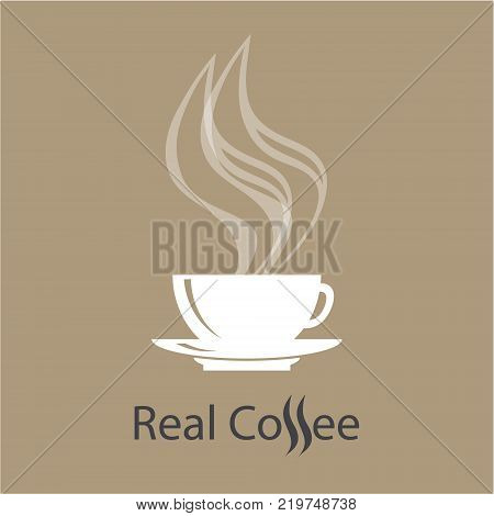 Coffee shop vector logo. White classic mug on saucer on light brown background. Steaming hot coffee drink
