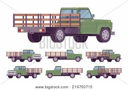 Green empty truck. Vehicle to transport large amounts of cargo, open car for carrying goods and materials. Vector flat style cartoon illustration isolated on white background, different positions