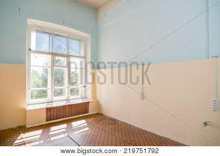 Abandoned Common office building interior shot background