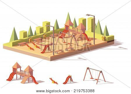 Vector low poly outdoors playground and playground equipment and structures