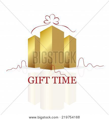 Gift Time Golden Building Logo Vector Design on White Background. Construction business and real estate concept.