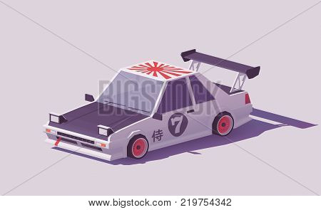Vector low poly classic Japanese drift car