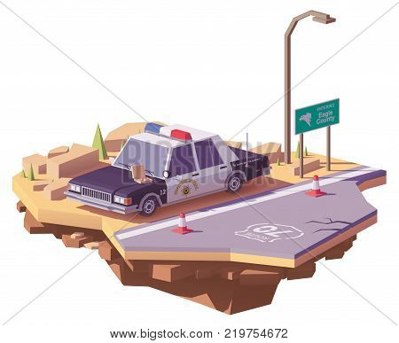 Vector low poly classic American police car on the highway