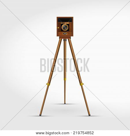 Old Retro Wooden Photo Camera on a Tripod. 3D Realistic Vector Illustration. Accordion Century Antique Studio Camera and Stand.