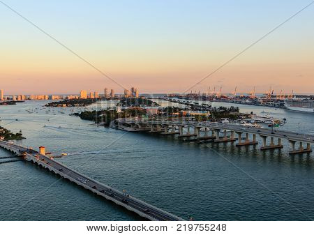 Two Miami Causeways at Sunset over Biscayne Bay