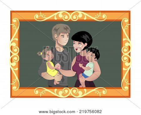Family photo in wooden frame. Cartoon vector illustration
