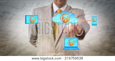 Unrecognizable male enterprise manager is identify a cyber incident in a mobile computer network. Information technology concept for cloud security vulnerability data breach and cybersecurity.