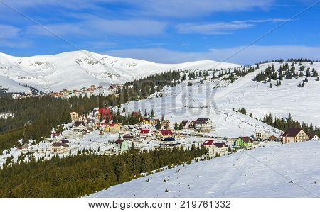 RANCA ROMANIA - DECEMBER 26 2017 - Ranca ski resort in the Parang mountains Romania.