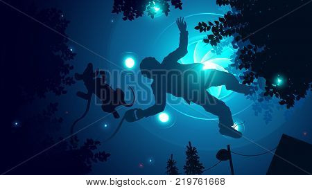 UFO abducts human in dark night sky near home. Aliens spaceship fly over man and his dog. Flying saucer or unidentified flying object. Vector illustration