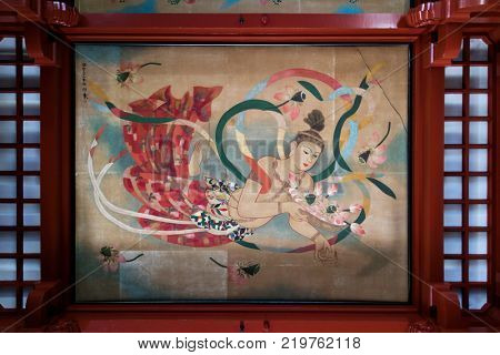 Tokyo - Japan, June 17, 2017; Painted decoration at the Sensoji, also known as Asakusa Kannon Temple, Asakusa
