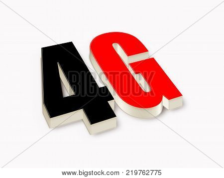 4G 3d black and red text. 3D illustration stock.