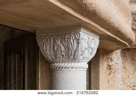 Near Mitzpe Yeriho Israel November 25 2017 : Decorative top of a column in a monastery of St. George Hosevit (Mar Jaris) in Wadi Kelt near Mitzpe Yeriho in Israel