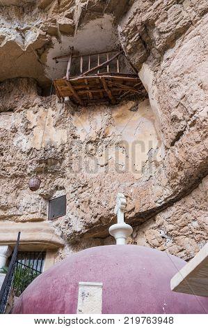 Near Mitzpe Yeriho Israel November 25 2017 : Courtyard of the monastery of St. George Hosevit (Mar Jaris) in Wadi Kelt near Mitzpe Yeriho in Israel