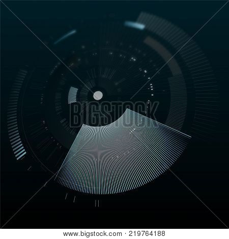 Futuristic interface element in perspective. Technology circle. Digital futuristic user interface. HUD. Sci fi futuristic template isolated on black background. Abstract vector illustration