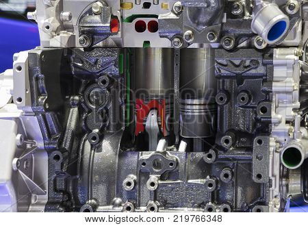 Cross Section of Diesel Engine ; powertain and pistal
