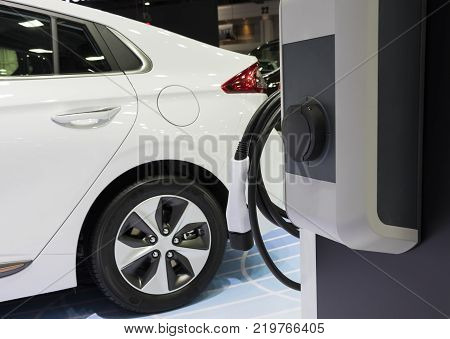 The Electric Vehecle ( EV ) charger ; selective focus