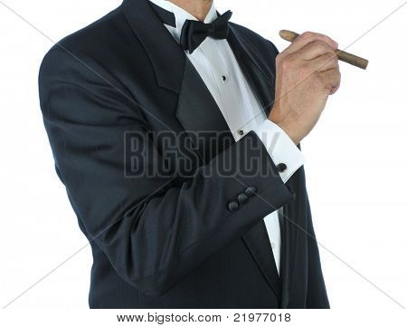 Man in Tuxedo Holding a Cigar isolated over white
