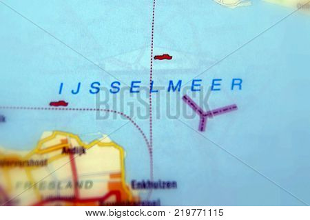 IJsselmeer is a closed off inland bay in the central Netherlands bordering the provinces of Flevoland, North Holland and Friesland (Europe)