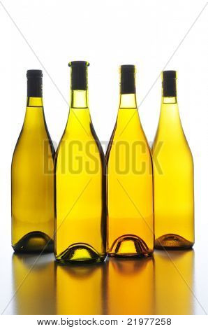Four Wine Bottles no labels with Back Light and reflections