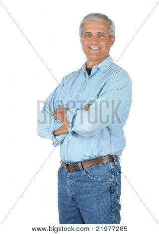 Smiling Middle Aged Man in Jeans and Work Shirt isolated on white