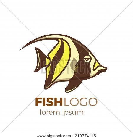 Marine life tropical colorful fish set illustration in cartoon. Aquarium draft vector design.  Moorish idol logo