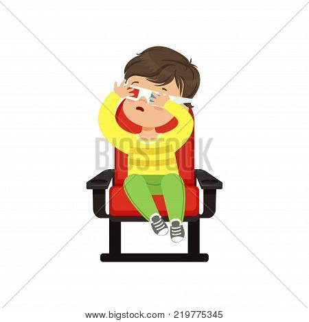 Frightened little boy in 3d glasses sitting on a red chair and watching 3D movie in the cinema vector Illustration on a white background