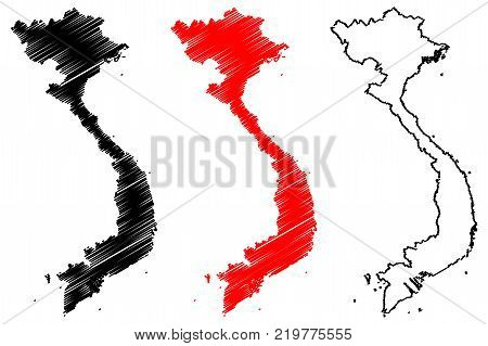 Vietnam map vector illustration , scribble sketch Socialist Republic of Vietnam