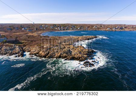 Coastline of Cape Ann, including Loblolly Point and Loblolly Cove near Rockport, Cape Ann, Massachusetts, USA.