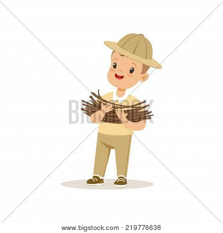 Cute little boy in scout costume bringing some firewood, outdoor camp activity vector Illustration on a white background