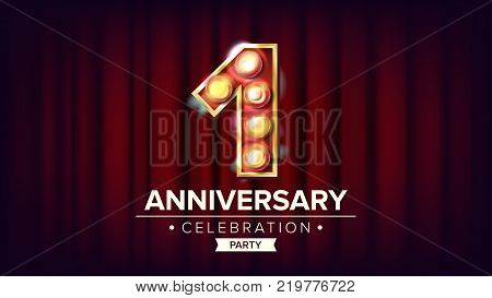 1 Year Anniversary Banner Vector. One, First Celebration. Shining Light Sign Number. For Business Cards, Postcards, Flyers, Gift Cards Design. Red Background Illustration