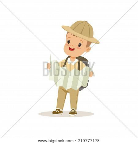 Cute little boy in scout costume with backpack orienteering with map, outdoor camp activity vector Illustration on a white background