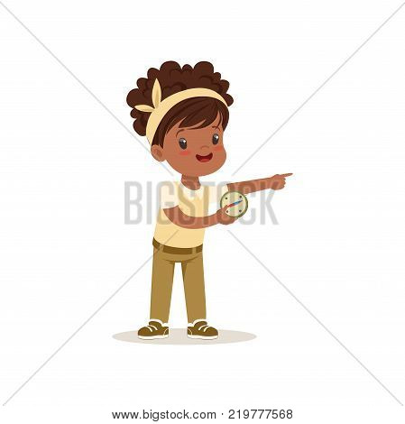 Beautiful little girl in scout costume orienteering with compass, outdoor camp activity vector Illustration on a white background