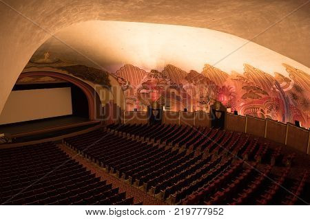 CATALINA ISLAND, CALIFORNIA - 3 NOVEMBER 2017: Art Deco decoration in cinema at Casino in Avalon on Catalina Island