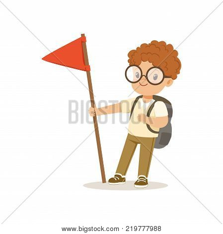 Cute little boy in scout costume standing with red flag, outdoor camp activity vector Illustration on a white background