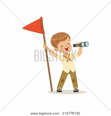 Cute little boy in scout costume with red flag looking through binoculars, outdoor camp activity vector Illustration on a white background
