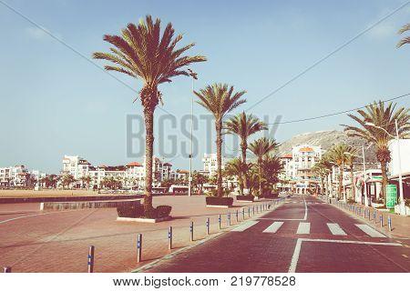 Agadir, Morocco - December 15, 2017 :agadir Seafront Promenade, Is A Major City In Morocco Located O
