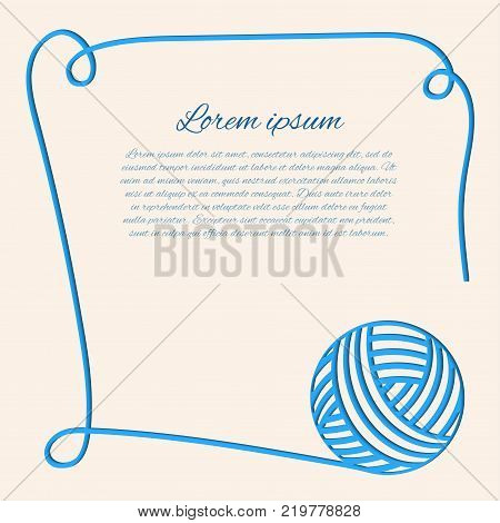 Vector illustration with blue clew. Papercut yarn. Blue fibre. Can be used us invitation card. Border with thread